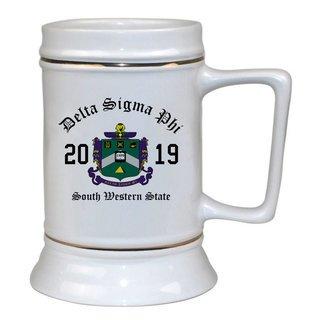 Delta Sigma Phi Ceramic Crest & Year Ceramic Stein Tankard - 28 ozs!
