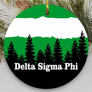 Delta Sigma Phi Christmas Mountains Round Ornaments