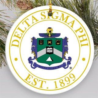 Delta Sigma Phi Circle Crest Round Ornaments