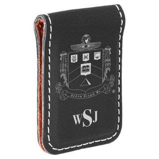 Delta Sigma Phi Crest Leatherette Money Clip