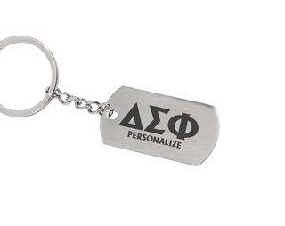 Delta Sigma Phi Dog Tag Style Custom Keychain