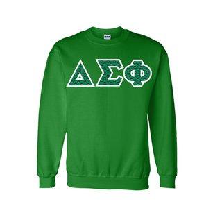 Delta Sigma Phi Fraternity Crest Twill Letter Crewneck Sweatshirt