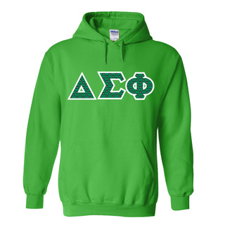 Delta Sigma Phi Fraternity Crest - Shield Twill Letter Hooded Sweatshirt