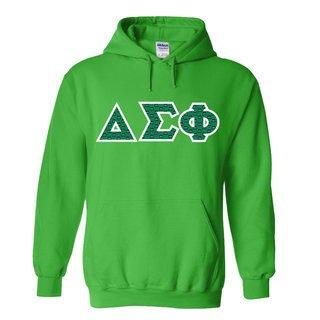 Delta Sigma Phi Fraternity Crest Twill Letter Hooded Sweatshirt