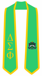 DISCOUNT-Delta Sigma Phi Greek 2 Tone Lettered Graduation Sash Stole