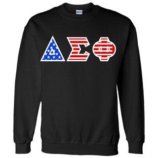Delta Sigma Phi Greek Letter American Flag Crewneck