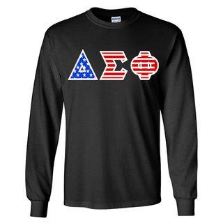 Delta Sigma Phi Greek Letter American Flag long sleeve tee