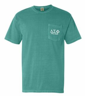 Delta Sigma Phi Greek Letter Comfort Colors Pocket Tee