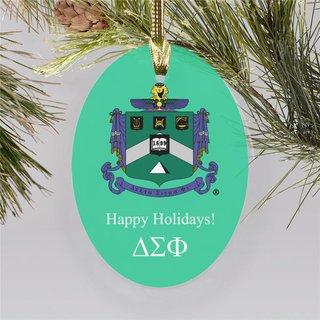 Delta Sigma Phi Holiday Color Crest - Shield Ornament