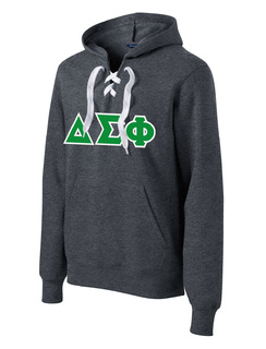 DISCOUNT-Delta Sigma Phi Lace Up Pullover Hooded Sweatshirt
