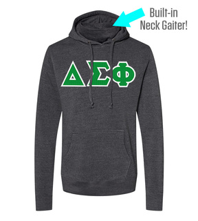 Delta Sigma Phi Lettered Gaiter Fleece Hooded Sweatshirt