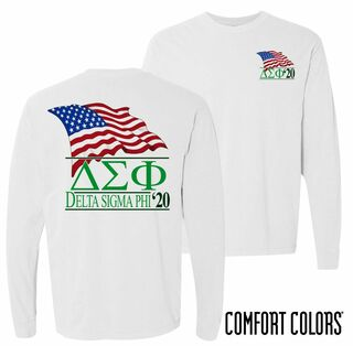 Delta Sigma Phi Patriot Long Sleeve T-shirt - Comfort Colors