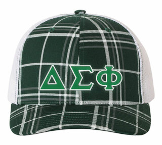 Delta Sigma Phi Plaid Snapback Trucker Hat - CLOSEOUT