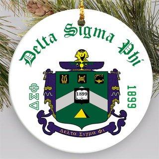 Delta Sigma Phi Round Christmas Shield Ornament