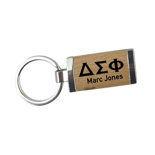 Delta Sigma Phi Silver/Wood Rectangle Keychain