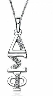 Delta Sigma Phi Sweet Heart Vertical Silver Lavalier