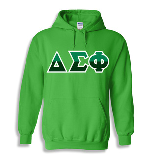 Delta Sigma Phi Two Tone Greek Lettered Hooded Sweatshirt