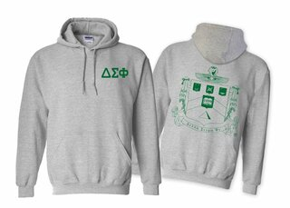 Delta Sigma Phi World Famous Crest - Shield Printed Hooded Sweatshirt- $35!