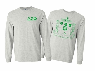 Delta Sigma Phi World Famous Crest Long Sleeve T-Shirt- MADE FAST!