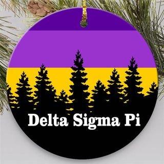 Delta Sigma Pi Christmas Mountains  Round Ornaments
