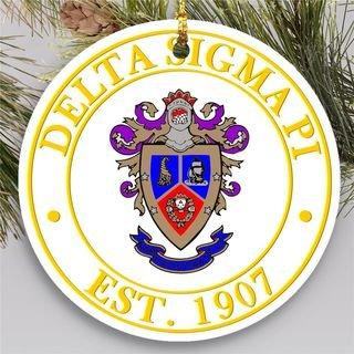 Delta Sigma Pi Circle Crest Round Ornaments