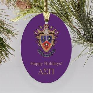 Delta Sigma Pi Holiday Color Crest - Shield Ornament