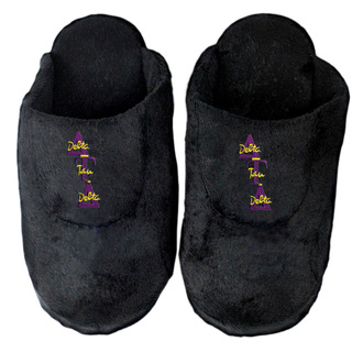 DISCOUNT-Delta Tau Delta Black Solid Letter Slipper