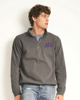 Delta Tau Delta Comfort Colors Garment-Dyed Quarter Zip Sweatshirt