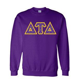 Delta Tau Delta Fraternity Crest - Shield Twill Letter Crewneck Sweatshirt