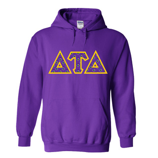 Delta Tau Delta Fraternity Crest - Shield Twill Letter Hooded Sweatshirt