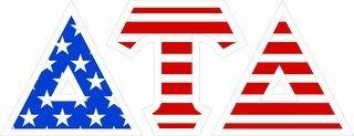 "Delta Tau Delta Giant 4"" American Flag Greek Letter Sticker"