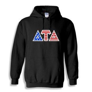DISCOUNT-Delta Tau Delta Greek Letter American Flag Hoodie