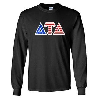DISCOUNT-Delta Tau Delta Greek Letter American Flag long sleeve tee