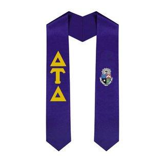 Delta Tau Delta Greek Lettered Graduation Sash Stole With Crest