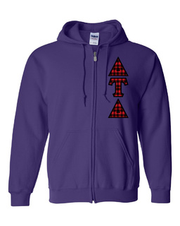 "Delta Tau Delta Heavy Full-Zip Hooded Sweatshirt - 3"" Letters!"