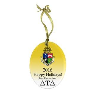 Delta Tau Delta Holiday Color Crest - Shield Glass Ornament