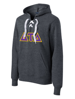 DISCOUNT-Delta Tau Delta Lace Up Pullover Hooded Sweatshirt