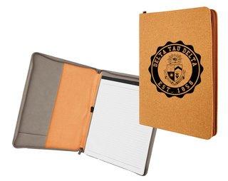 Delta Tau Delta Leatherette Zipper Portfolio with Notepad
