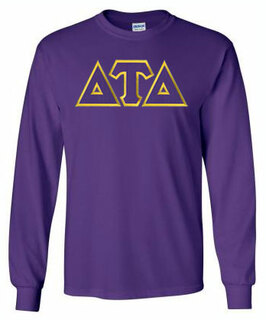 Delta Tau Delta Lettered Long Sleeve Tee- MADE FAST!