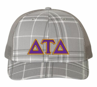Delta Tau Delta Plaid Snapback Trucker Hat - CLOSEOUT