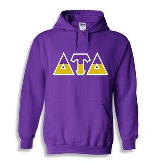 Delta Tau Delta Two Tone Greek Lettered Hooded Sweatshirt