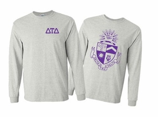 Delta Tau Delta World Famous Crest Long Sleeve T-Shirt- MADE FAST!