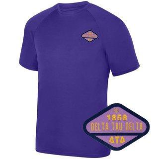 DISCOUNT-Delta Tau Delta Woven Emblem Greek Dry Fit Wicking Tee