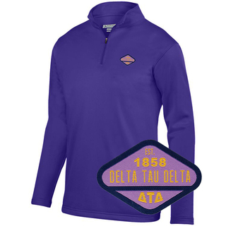 DISCOUNT-Delta Tau Delta Woven Emblem Wicking Fleece Pullover