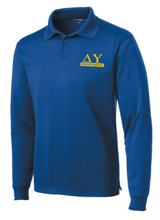 Delta Upsilon- $30 World Famous Long Sleeve Dry Fit Polo
