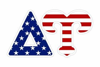 "Delta Upsilon American Flag Greek Letter Sticker - 2.5"" Tall"