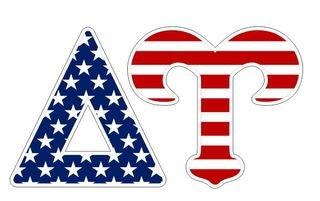 "Delta Upsilon American Flag Greek Letter Sticker - 2.5"" Tall"