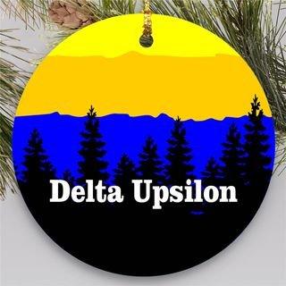 Delta Upsilon Christmas Mountains Round Ornaments