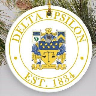 Delta Upsilon Circle Crest Round Ornaments