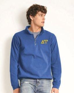 Delta Upsilon Comfort Colors Garment-Dyed Quarter Zip Sweatshirt